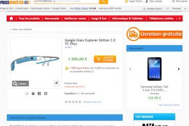 Les Google Glass à la vente sur PriceMinister à 1500 €