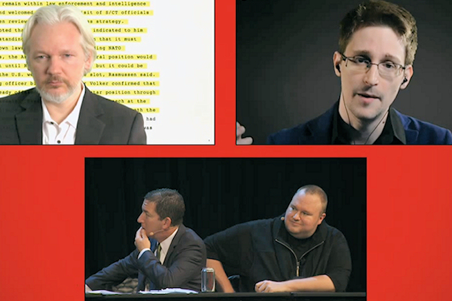 Assange et Snowden contre l'écoute de masse des citoyens aux côtés de Kim Dotcom