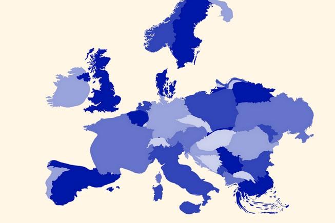 A quoi ressemblerait l'Europe redessinée du point de vue de la dette par habitant