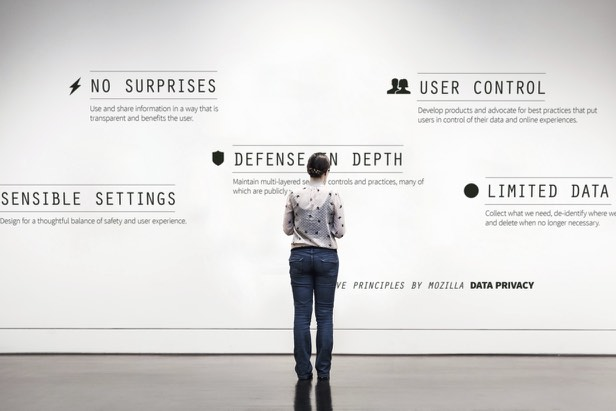 The five data privacy principles from Mozilla, put in big on a museum wall: no surprises, sensible settings, defense in depth, user control, limited data. (Base photo: unsplash)