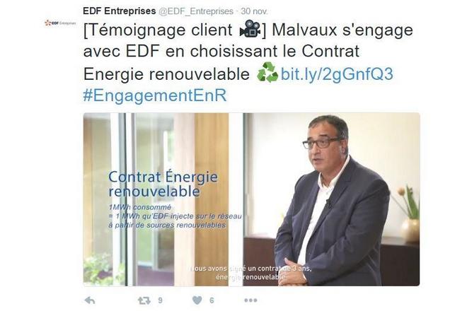 EDF entreprises satisfait de l'impact des témoignages clients vidéo sur les médias sociaux