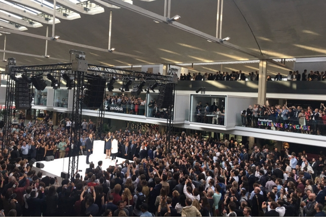 Station F : la halle géante réservée aux startups inaugurée par Emmanuel Macron