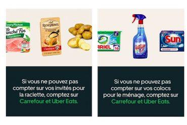 Campagne publicitaire digitale commune entre Carrefour et Uber Eats pour la livraison en 30 minutes